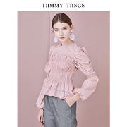 糖力2019春季藕粉色泡泡长袖衬衣收褶显瘦上衣短款罩衫衬衫女