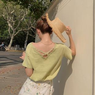 短袖V领T恤女2019夏宽松蕾丝拼接纯棉后背交叉上衣A6950