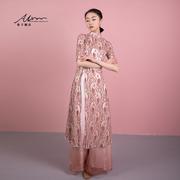 希子家古典舞演出服2021复古蕾丝花纹中袖长衫舞蹈练功服上衣