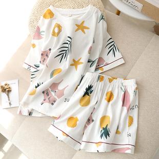 睡衣女纯棉短袖短裤夏季薄款卡通夏天家居服两件套装可出门