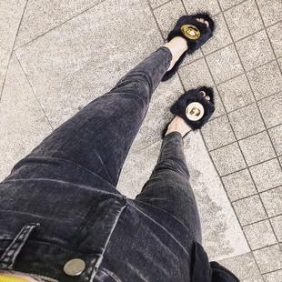 春秋加绒长裤网红洋气烟灰色高腰牛仔裤女紧身弹力显瘦小脚九分裤