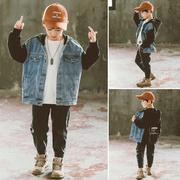 儿童洋气牛仔外套连帽休闲春秋装中童时尚夹克10男童风衣韩版12岁