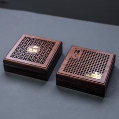 红木制花梨黑酸枝镂空盘香盒单层家用香道木质香薰炉檀香盘香香盒