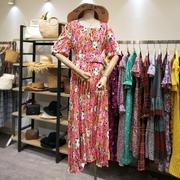 韩国东大门夏季气质女小方领风琴百褶裙摆花朵印花束腰显瘦连衣裙