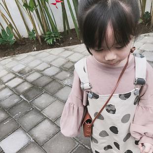 史豌豆女宝宝可爱拼接灯笼袖t恤时尚百搭圆领女童打底衫上衣