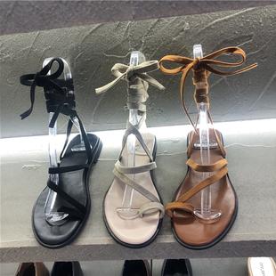 鞋子女2019春夏套趾脚踝绑带低跟平底街穿凉鞋舒适罗马鞋