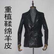 重植鞣绵羊真皮皮衣男修身短款双排扣休闲西服西装外套韩版显瘦