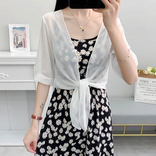 外搭夏配吊带裙的罩衫短款防晒披肩女夏季开衫大码薄款上衣小外套
