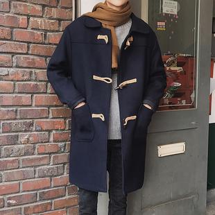 牛角扣毛呢大衣男中长款风衣外套2018冬男土帅气宽松泥腻尼孑大衣