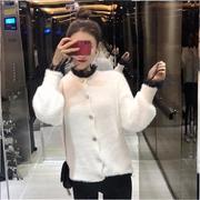 秋冬女装网红主播灯笼袖小外套开衫+镂空性感蕾丝打底衫