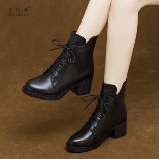 马丁靴女2018秋冬季粗跟系带短靴中跟真皮鞋百搭加绒女鞋子棉