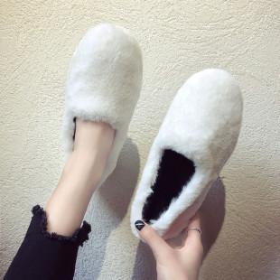 网红豆豆鞋女加绒棉瓢鞋女鞋2018秋冬季外穿一脚蹬毛毛鞋