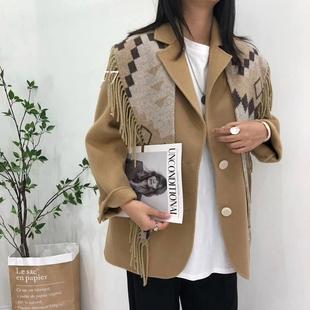 21年秋冬韩版流苏披肩小个子西装毛呢外套双面呢大衣长袖