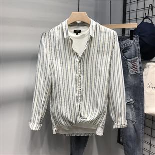春夏薄款男士棉麻翻领衬衫简约条纹亚麻衬衣外套宽松潮牌寸衣
