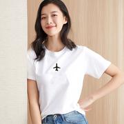 夏宽松大码国潮网红圆领短袖女士打底衫纯棉T恤白色t恤6