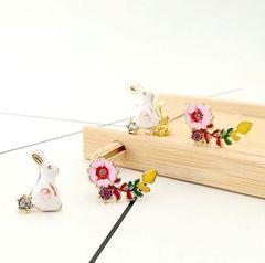 清新文艺珐琅滴油爱丽丝小兔子镶钻花朵耳环耳夹