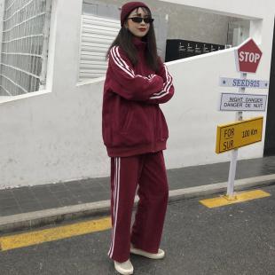2018秋冬原宿风bf宽松女神范卫衣运动套装两件套女学生潮