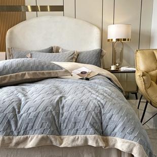 轻奢立体牛奶绒四件套冬季加厚法兰绒珊瑚绒床单被套保暖床上用品