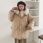 秋冬2018女装宽松大毛领加厚棉衣小个子学生棉服外套冬季