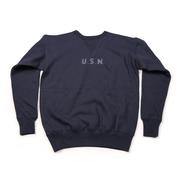 恶犬BRONSON复刻USN纯色海军圆筒卫衣 男士加厚毛圈套头筒织卫衣