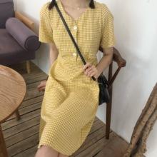 韩国夏装经典中长款V领五分袖三粒扣格子收腰连衣裙学生中裙