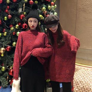 网红高领红色毛衣女装秋冬2018套头宽松中长款加厚针织衫