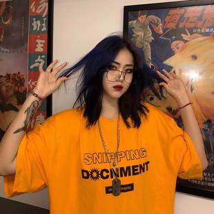 短袖女2019韩国INS原宿风嘻哈复古字母印花宽松情侣装T恤上衣