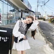 李雨薇法式少女裙秋冬气质小香风娃娃领法国小众连衣裙两件套