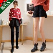 外穿秋冬款呢子阔腿靴裤2018冬季宽松显瘦冬天高腰毛呢短裤女