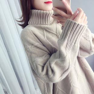 宽松慵懒风加厚外套ins超火长袖套头网红高领毛衣女2018