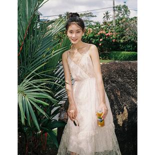 梅子熟了很仙的仙女裙chic温柔复古蕾丝吊带连衣裙2019夏季