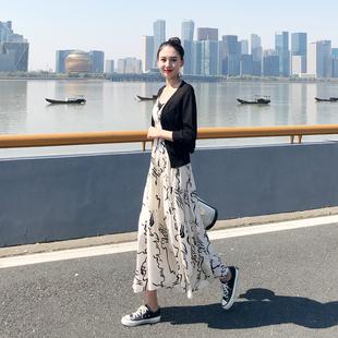 连衣裙2019夏女超仙法国小众流行裙子两件套长款雪纺吊带长裙