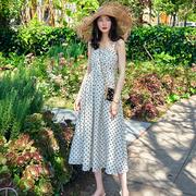 原创欧美复古波点性感吊带连衣裙女2020夏季收腰显瘦长款裙子