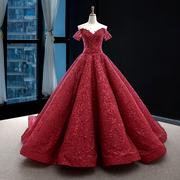 瑞思美2018夏新娘结婚性感抹胸酒红婚纱礼服优雅齐地蓬蓬裙