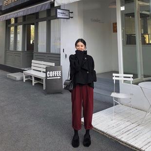 艺米YIMI定制2018冬季高腰显瘦哈伦毛呢裤女冬直筒萝卜裤