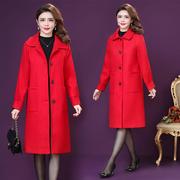 复古妈妈装大红色毛呢外套女中长加棉大码单排扣呢子口袋大衣秋冬