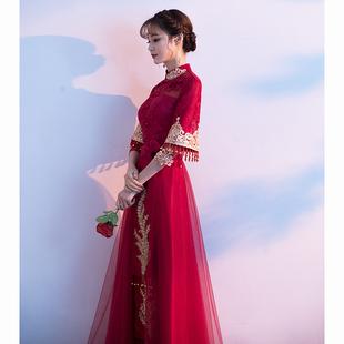 敬酒服新娘2019夏款中式红色旗袍出阁服公主结婚礼服女秀禾服夏季