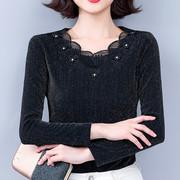 蕾丝打底衫洋气小衫秋冬内搭加绒加厚高档黑色低领气质上衣女