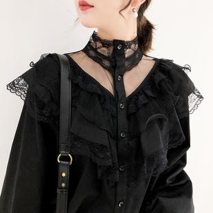 K姐自制 气质衬衫 前后两穿 复古蕾丝花边拼接小高领单排扣上衣女