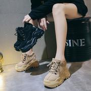 内增高女鞋2020秋季运动鞋韩版厚底松糕鞋百搭秋款单鞋老爹鞋