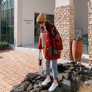 很仙的毛衣女红色开衫加厚宽松慵懒风春装2019小清新针织外套