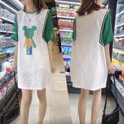 欧洲站夏宽松休闲慵懒风撞色拼接假两件短袖上衣女镂空T恤裙