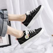 樱闲2019夏季小黄鸭低帮帆布鞋低跟平底系带鞋百搭潮女鞋