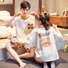 情侣睡衣女夏季纯棉短袖可爱卡通小熊圆领套头男士睡衣家居服套装