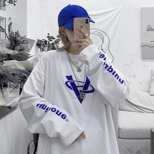 2020韩版ins百搭学生外穿打底衫上衣春秋宽松长袖白色t恤女潮