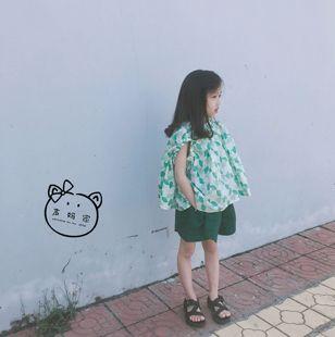 韩国腔调女童装清新薄棉布蝙蝠袖露肩背心宽松裙摆上衣无袖娃娃衫