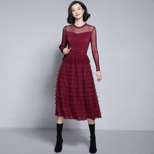 2019春装女蕾丝网纱过膝中长裙长袖层层蛋糕裙打底连衣裙