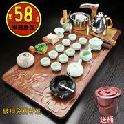 整套功夫茶具套装家用客厅办公室电磁炉茶壶泡茶杯台会客茶盘一体