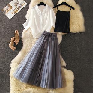 时髦洋气套装裙夏季很仙的雪纺衫上衣百褶网纱蓬蓬裙两件套女