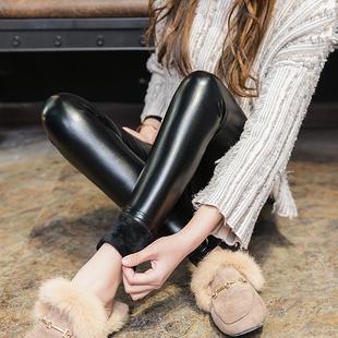 皮裤女士秋冬季打底裤外穿黑色2018高腰加绒加厚pu紧身小脚裤